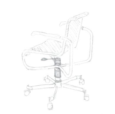 Bürostuhl in Anlehnung an meinen Lieblingsstuhl / copyright Entwurs-Skizze 1995 gr