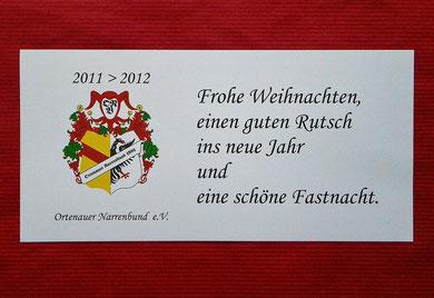 Einlageblatt in W'karte 2011>2012 / weiss / 210 x 103 mm