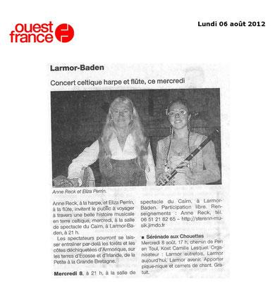 Concert en duo à la salle du Cairn à Larmor-Baden