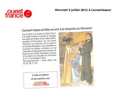 Concert en duo à la chapelle du Moustoir à Locmariaquer