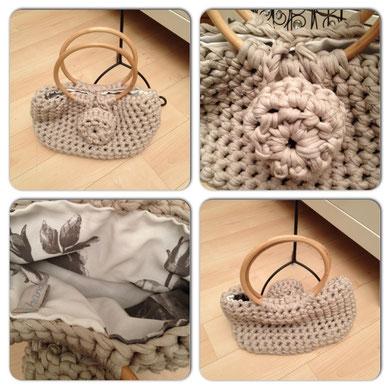 Tasche aus Textilgarn gehäkelt