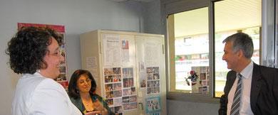 Pierre Christophe BAGUET, Député-Maire de Boulogne depuis mars 2008, Michèle EJNES REUBEN, Marie-Claire MARTEL , Présidente des Parents d'élèves.18 juin 2008