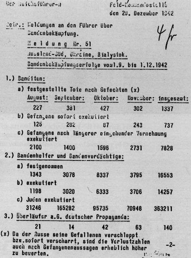 Extrait d'un rapport d'Himmler à Hitler annonçant l'assassinat de 363211 Juifs d'août à novembre 1942 en Union Soviétique occupée.