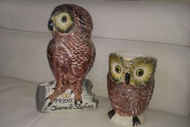 Uhus und Eulen aus Keramik, eine Sonderanfertigung!