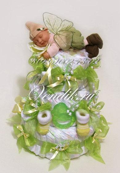 """Торт из памперсов """"Лесной малыш"""" из коллекции """"Сладкий сон"""" (Весна)"""