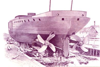 """Panzerkorvette """"Bayern"""" im Bau 1877 (Zeichnung: Leipziger Illustrierte 1880)"""