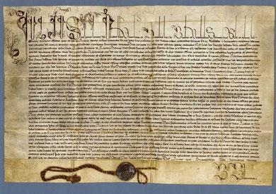 päpstliche Urkunde mit der Erlaubnis zur Erbauung einer Filialkirche