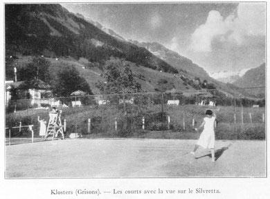 natürlich wurde in Klosters auch schon vor der Gründung Tennis gespielt, wie hier 1925 auf den Vereinaplätzen