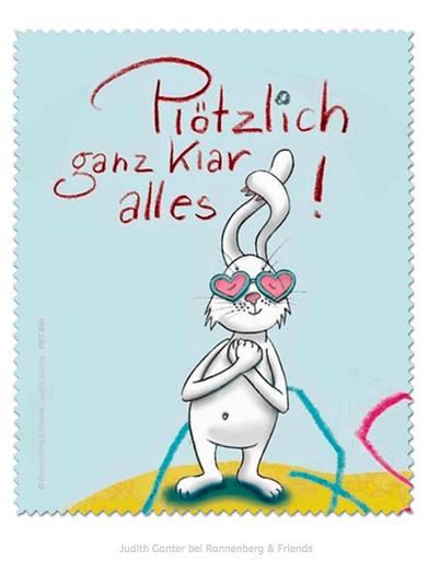 Plötzlich ganz klar alles! Hase mit rosa Brille - Für Verliebte - Text und Bild Judith Ganter bei Rannenberg & Friends - Judith Ganter bei Rannenberg & Friends - Brillenputztücher Humor, Geschenke Brillenträger, Mitbringsel Brillenträger