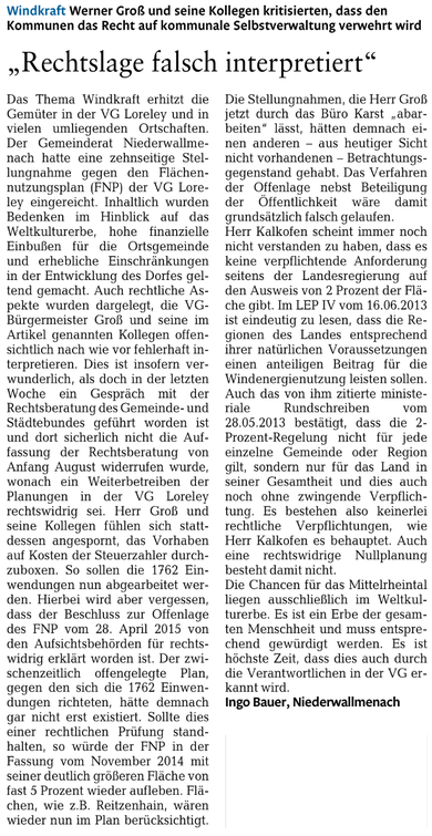 Rhein-Lahn-Zeitung v. 06.10.2015