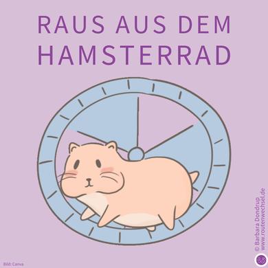 Ein Hamster im Hamsterrad. Raus aus dem Hamsterrad