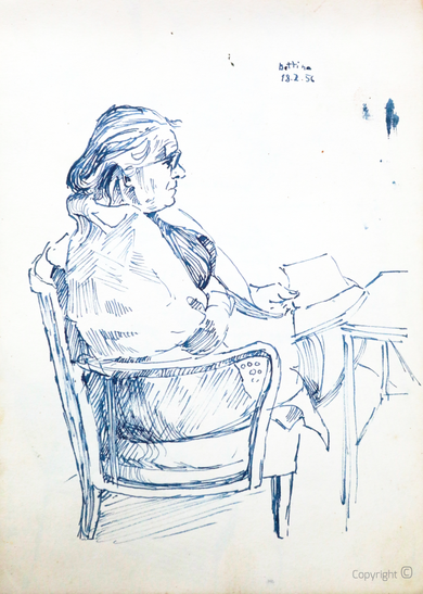 Bettina Heinen-Ayech (1937-2020): Erna Heinen-Steinhoff beim Lesen, 1956