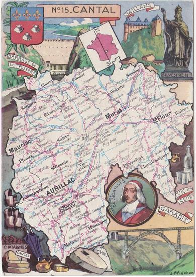 Recto d'une carte postale timbrée envoyée depuis le Cantal