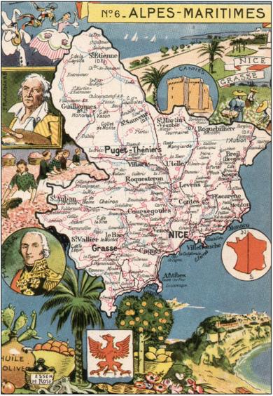 Recto d'une carte postale timbrée au dos envoyée depuis les Alpes-Maritimes