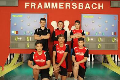 Kader 21/22: stehend von links: Philipp Kirsch, Anton Krause, Luca Büdel ; knieend von links: Alessio Rüth, Peter Fröhlich, Paul Steigerwald