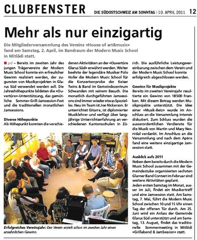 Pressebericht in der Südostschweiz vom 10. April 2011