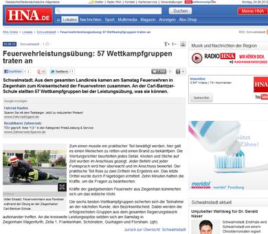 HNA Artikel zum Kreisentscheid 2012