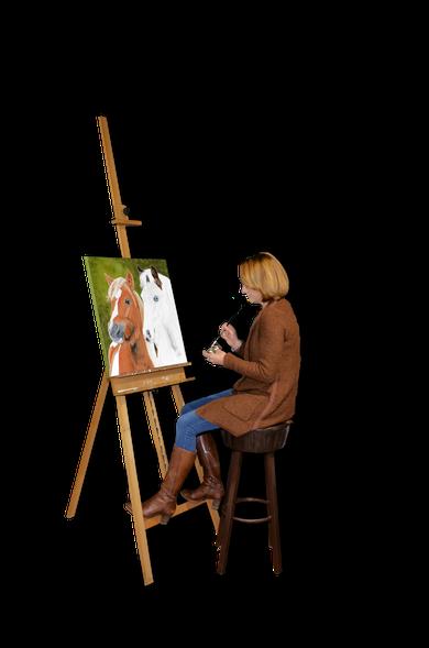 Maryleens Atelier met maryleen aan het schilderen.