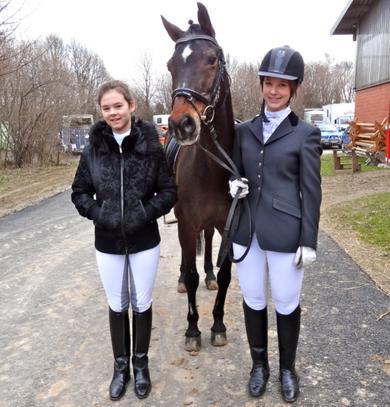 Dante mit Hannah und Michelle auf unserem Reitertag am 13. April 2013.