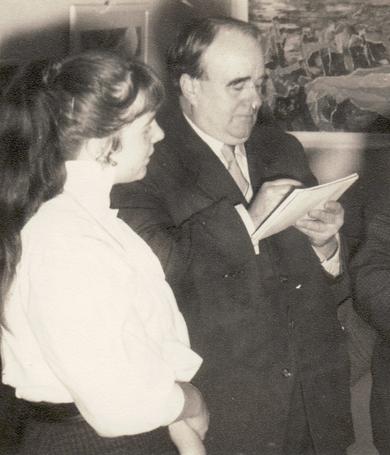 Bettina Heinen-Ayech avec son professeur le plus important Erwin Bowien, 1955