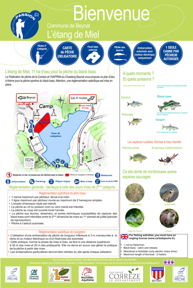 Réglementation pêche étang de Miel