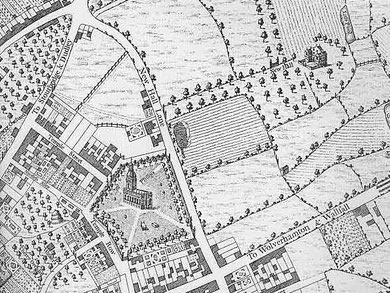 Westley's map of 1731 is oriented with west at the top. New Hall Lane is now Colmore Row; the road to Stourbridge and Dudley is New Street; the road to Wolverhampton and Walsall is Constitution Hill.