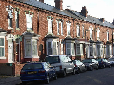 Avondale Road, typical 19th-century Sparkhill terraced houses