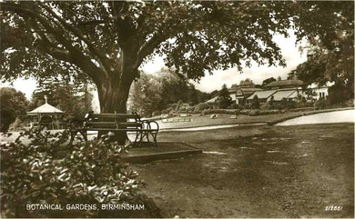 Birmingham Botanical Gardens 1939. Image from Postcards of the Past. My thanks to Dave Gregory. See Acknowldgements for a link to his website.