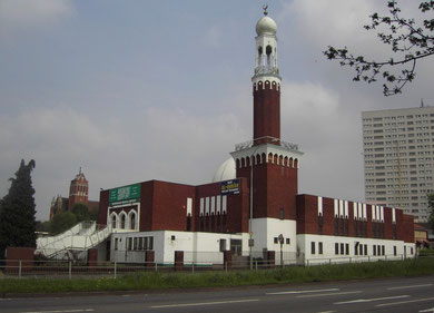 Birmingham Central Mosque, St Alban's Church in the background.