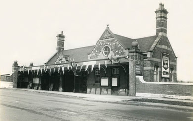 Castle Bromwich Station late 1950s? The station is decked with bunting - could it have been the occasion of the British Industries Fair? Photography courtesy of Mike Musson of Warwickshire Railways. See Acknowledgements for a link to that website.