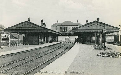 View looking out of city - early 1900s? The booking office was located on the road bridge serving both island platforms. Thanks for the use of this image to Mike Musson, Warwickshire Railways. See Acknowledgements for a link to his website.