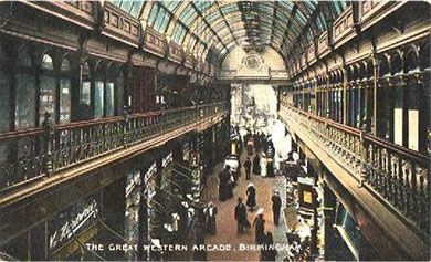The Great Western Arcade c1900 built over the Snow Hill tunnel. Thanks for the use of this postcard to Dave Gregory,  Postcards of the Past website. See Acknowledgements for a link to his site.