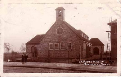 St Paul's Mission - date unknown. Thanks for the use of this postcard to JKC on the Birmingham History Forum. See Acknowledgements.