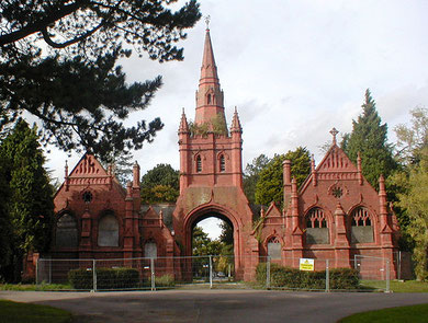 Brandwood Cemetery chapel downloaded from Flickr. Image by Pete Ashton reusable under Creative Commons Licence: Attribution-Noncommercial 2.0 Generic.