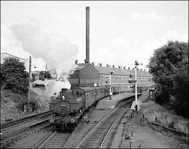Picture taken from Longbridge signal box, 7448 is setting off for Old Hill with the penultimate train before closure on 29th August 1958, the 5.9 from Longbridge. Picture 'All Rights Reserved' courtesy of Robert Darlaston - see Acknowledgements.