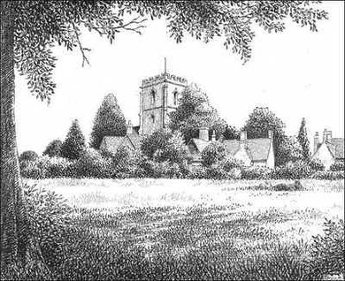 A view of Sheldon Village in 1936. Grateful thanks for the use of this image to E W Green, Historic Buildings in Pen & Ink - The Work of William Albert Green.