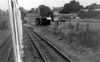 Site of Kings Heath Station and goods yard in 1972. Image by Michael Westley on Geograph SP0782 reusable under Creative Commons licence Attribution-ShareAlike 2.0 Generic (CC BY-SA 2.0). The train is heading towards the City Centre.