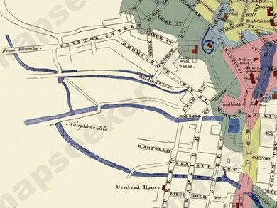 James Drake's map of Birmingham 1825 shows Vaughtons Hole beyond the built-up area of the town. However, the exact nature of the hole is unclear. Image from the Mapseeker website, non-commercial use permitted.