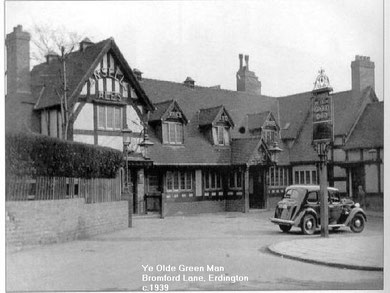 The Green Man c1939. Image, now free of copyright, downloaded from the late Peter Gamble's Virtual Brum website. See Acknowledgements.