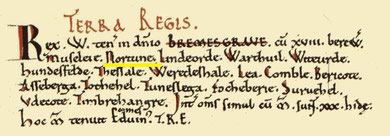 The Domesday entry for Norton is highlighted here as one of the berewicks of Bromsgrove. Image from the Open Domesday website. See Acknowledgements.
