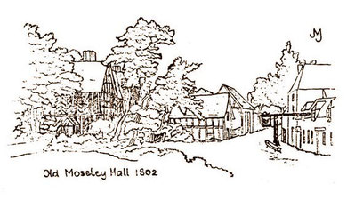 Conjectural drawing of Old Moseley Hall by John Morris Jones 1998 'Moseley'. Reuse permitted for non-commercial education purposes.