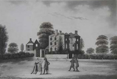 Priestley's house after the 1791 Riots by P H Witon Jnr. Image in the public domain.