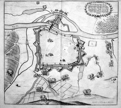 Schweinfurts Belagerung im Jahre 1647 durch die schwedischen Truppen Carl Gustav Wrangels - gut zu sehen die neu gebauten Schanzen und die Flugbahn des Geschosses auf das brennende Spitaltor- vergrößerbar!