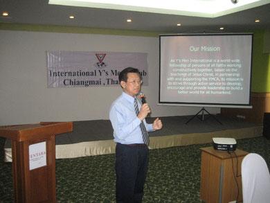 Edward K.W.Ong aus Singapur erklärt die Mission der Y'Men's Clubs