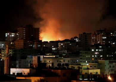 Israelsk luftbombardement i Tel al Hawa-kvarteret i Gaza by, onsdag aften den 14. november 2012