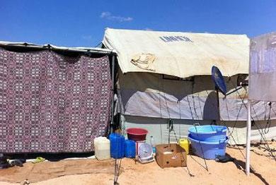 Flygtningecamp ved den libyske grænse