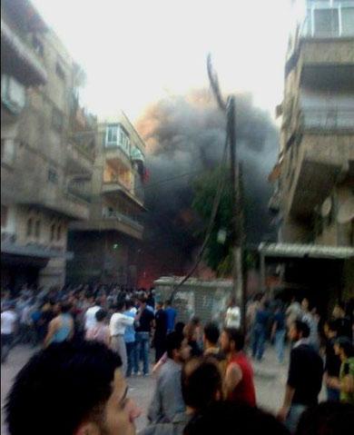 PFLP-GCs hovedkontor i flammer