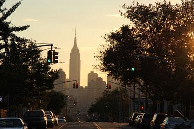 Vue sur l'Empire State Building depuis notre quartier du Queens