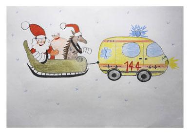 Ambulanz mit Weihnachtsmann und Rentier im Schlitten