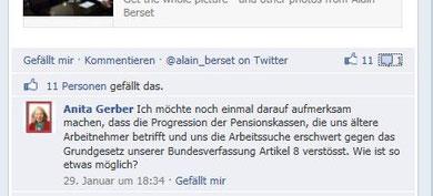 Facebook Interaktion: Frage ohne Antwort auf der Seite von Alain Berset